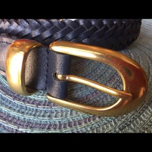 Navy Braided Genuine Leather Belt